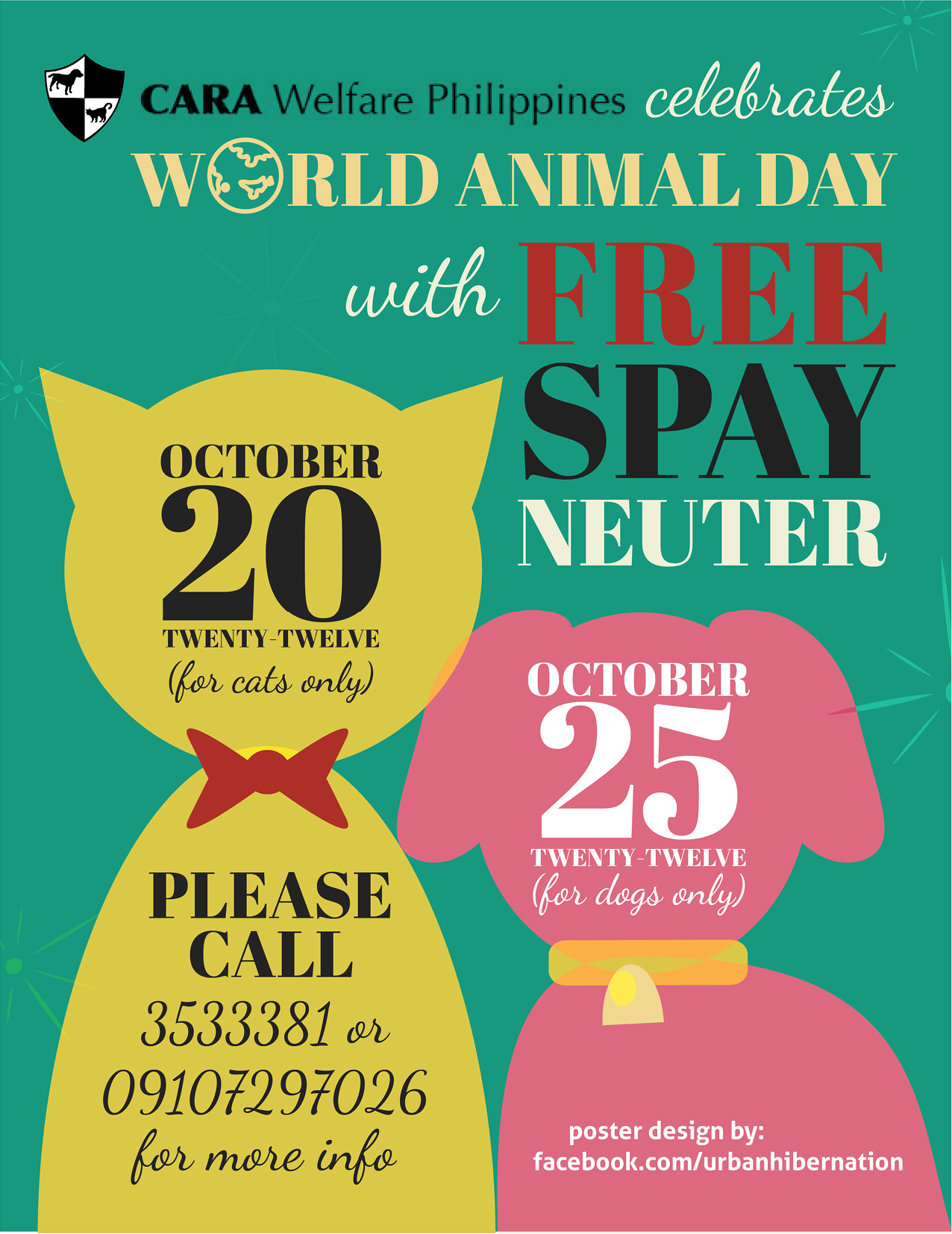World Animal Day! – Free spay/neuter at the CARA clinic