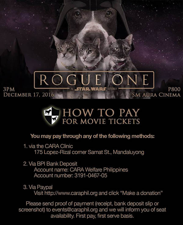 Watch a Movie, Help an Animal: Attend CARA's Rogue One A Star Wars Story Special Screening