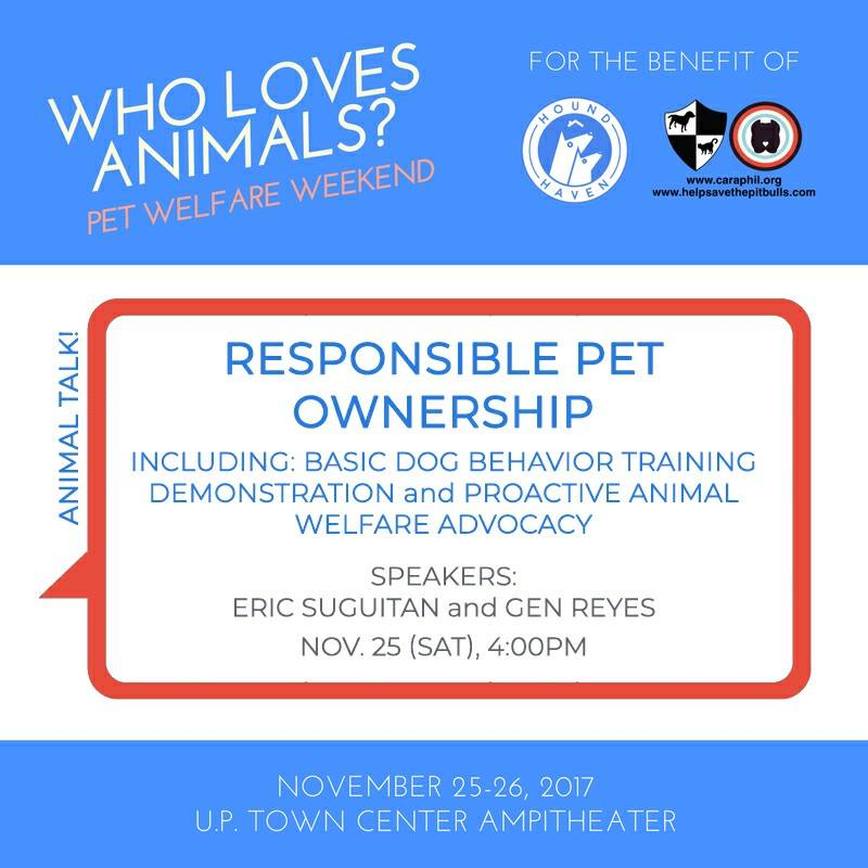 It's not all fun and games when you have a pet. Find out how to be a responsible pet owner on Saturday with Eric Suguitan and Gen Reyes. We'll also discuss proactive animal welfare advocacy and give a basic dog behavior training demonstration. So make sure to stick around! Also, get to meet the CARA Welfare Philippines ambassadogs: Ginger, Kimchi, and T-Bone! Kimchi is a blind senior doggo and Ginger is his seeing dog. T-Bone is an Ambassadog-in-Training.