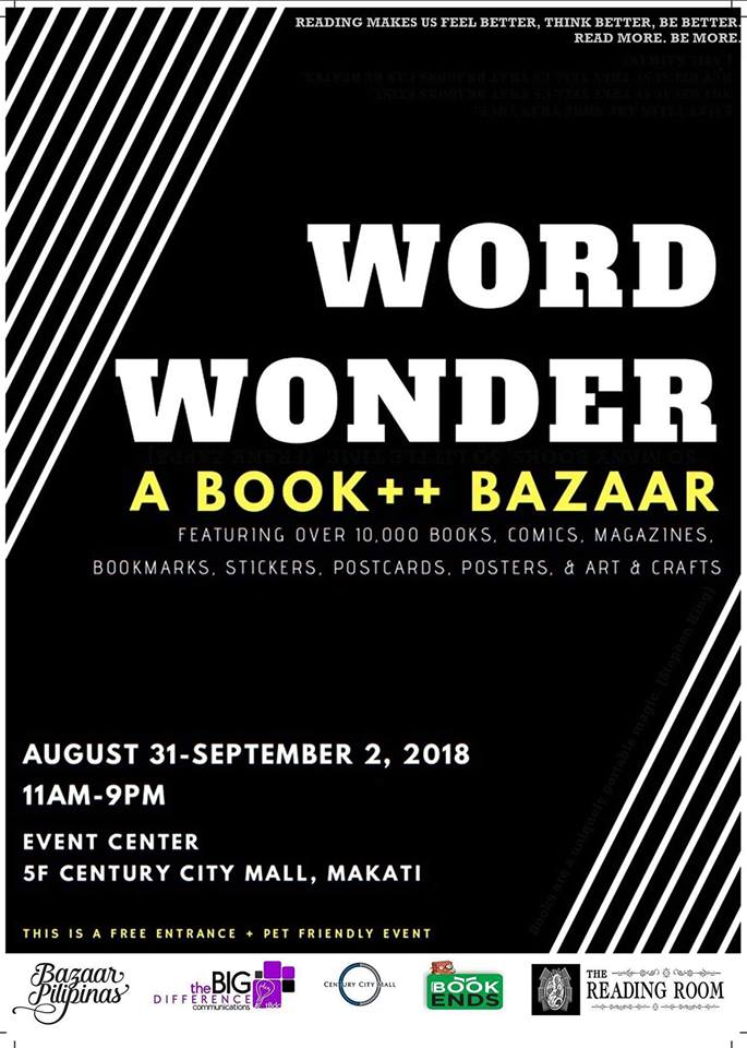 Word Wonder August 31 to September 2, book bazaar in Metro Manila Philippines